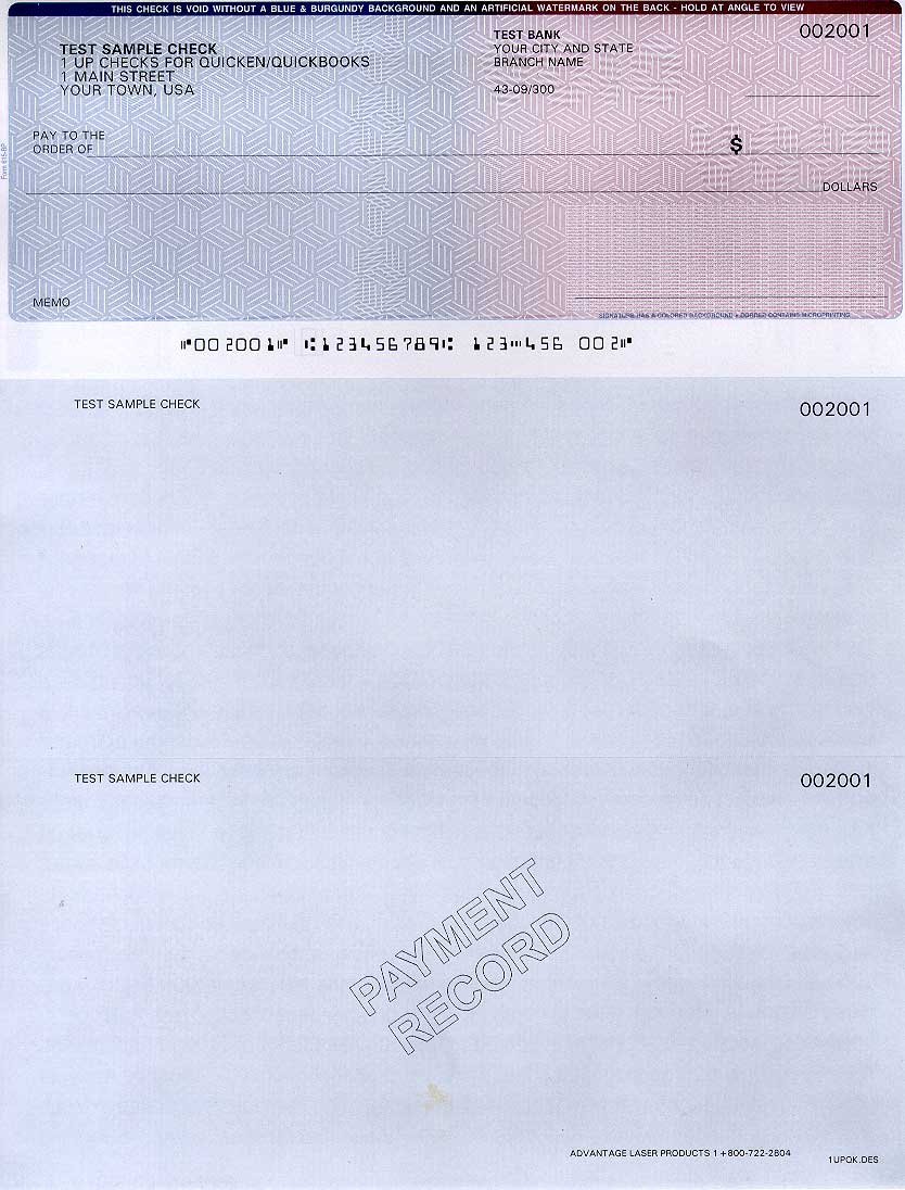 Preprinted checks info page Advantage Laser Products – Sample Check Voucher